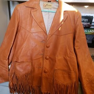 Vintage Geronimoe Leather fringed jacket
